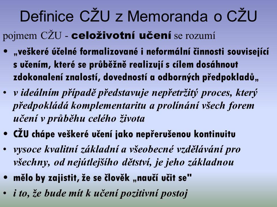 """Definice CŽU z Memoranda o CŽU pojmem CŽU - celoživotní učení se rozumí """"veškeré účelné formalizované i neformální činnosti související s učením, kter"""
