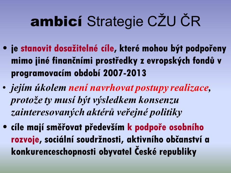 ambicí Strategie CŽU ČR je stanovit dosažitelné cíle, které mohou být podpořeny mimo jiné finančními prostředky z evropských fondů v programovacím obd