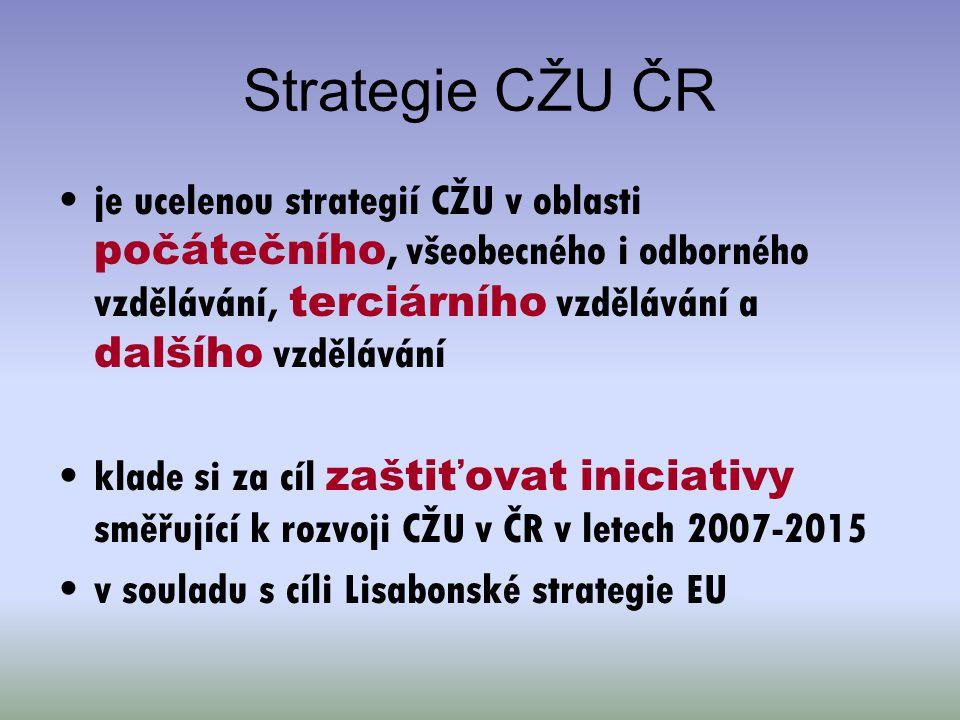 Strategie CŽU ČR je ucelenou strategií CŽU v oblasti počátečního, všeobecného i odborného vzdělávání, terciárního vzdělávání a dalšího vzdělávání klad