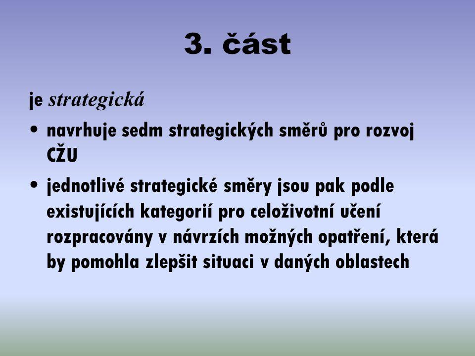 3. část je strategická navrhuje sedm strategických směrů pro rozvoj CŽU jednotlivé strategické směry jsou pak podle existujících kategorií pro celoživ