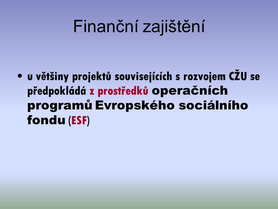 Finanční zajištění u většiny projektů souvisejících s rozvojem CŽU se předpokládá z prostředků operačních programů Evropského sociálního fondu (ESF)