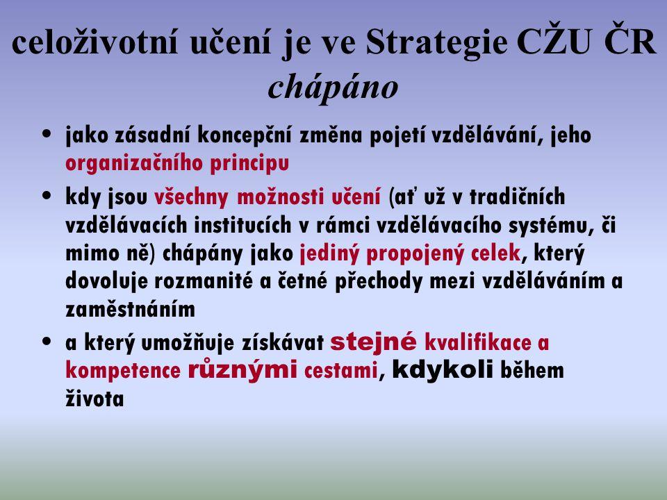 celoživotní učení je ve Strategie CŽU ČR chápáno jako zásadní koncepční změna pojetí vzdělávání, jeho organizačního principu kdy jsou všechny možnosti