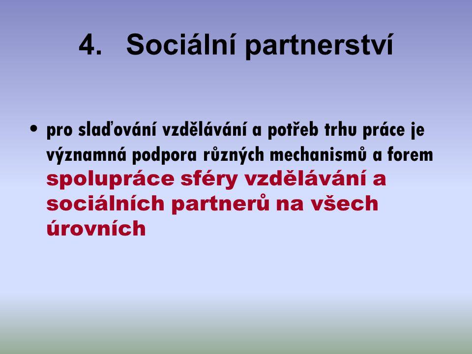 4.Sociální partnerství pro slaďování vzdělávání a potřeb trhu práce je významná podpora různých mechanismů a forem spolupráce sféry vzdělávání a sociá