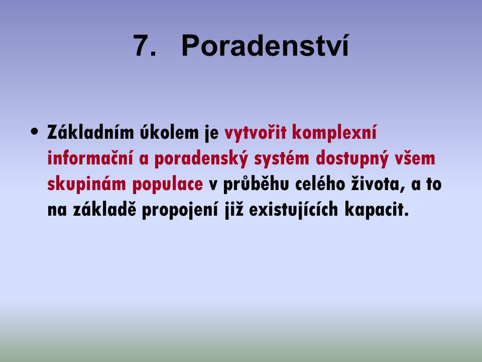 7.Poradenství Základním úkolem je vytvořit komplexní informační a poradenský systém dostupný všem skupinám populace v průběhu celého života, a to na z