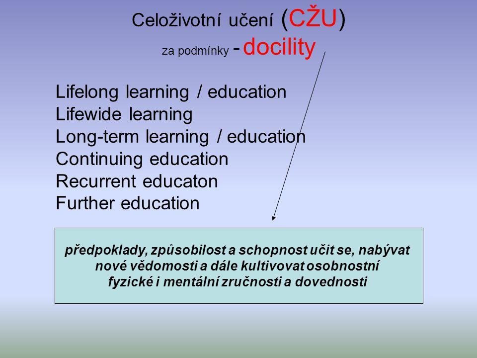 Celoživotní učení (CŽU) za podmínky - docility Lifelong learning / education Lifewide learning Long-term learning / education Continuing education Rec