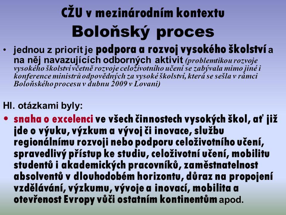 CŽU v mezinárodním kontextu Boloňský proces jednou z priorit je podpora a rozvoj vysokého školství a na něj navazujících odborných aktivit (problemtik