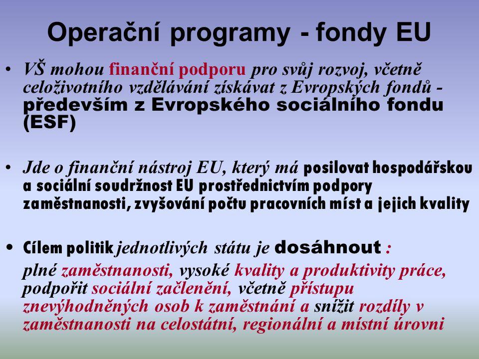 Operační programy - fondy EU VŠ mohou finanční podporu pro svůj rozvoj, včetně celoživotního vzdělávání získávat z Evropských fondů - především z Evro