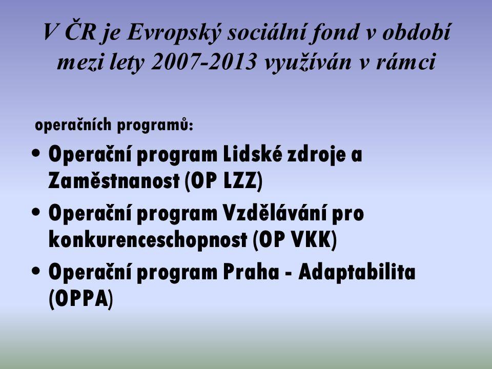V ČR je Evropský sociální fond v období mezi lety 2007-2013 využíván v rámci operačních programů: Operační program Lidské zdroje a Zaměstnanost (OP LZ