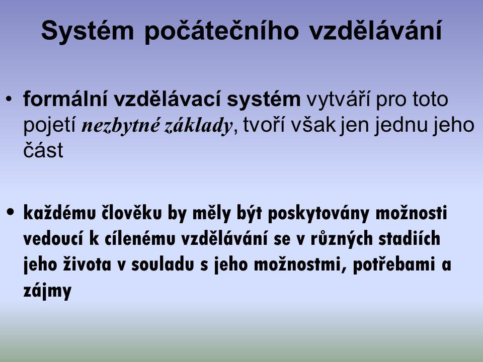 Systém počátečního vzdělávání formální vzdělávací systém vytváří pro toto pojetí nezbytné základy, tvoří však jen jednu jeho část každému člověku by m