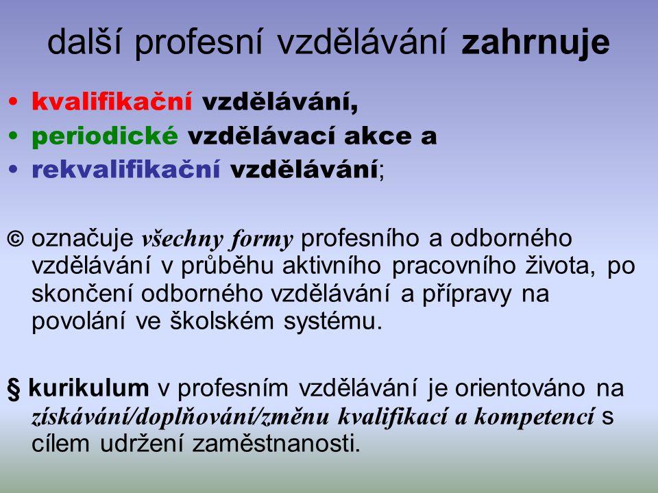 další profesní vzdělávání zahrnuje kvalifikační vzdělávání, periodické vzdělávací akce a rekvalifikační vzdělávání ; © označuje všechny formy profesní