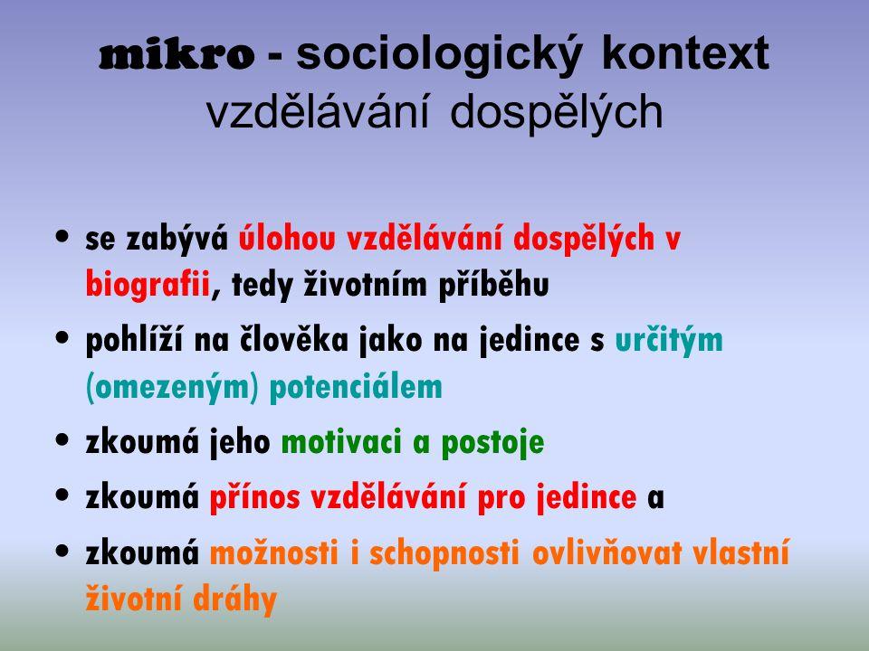 mikro - sociologický kontext vzdělávání dospělých se zabývá úlohou vzdělávání dospělých v biografii, tedy životním příběhu pohlíží na člověka jako na