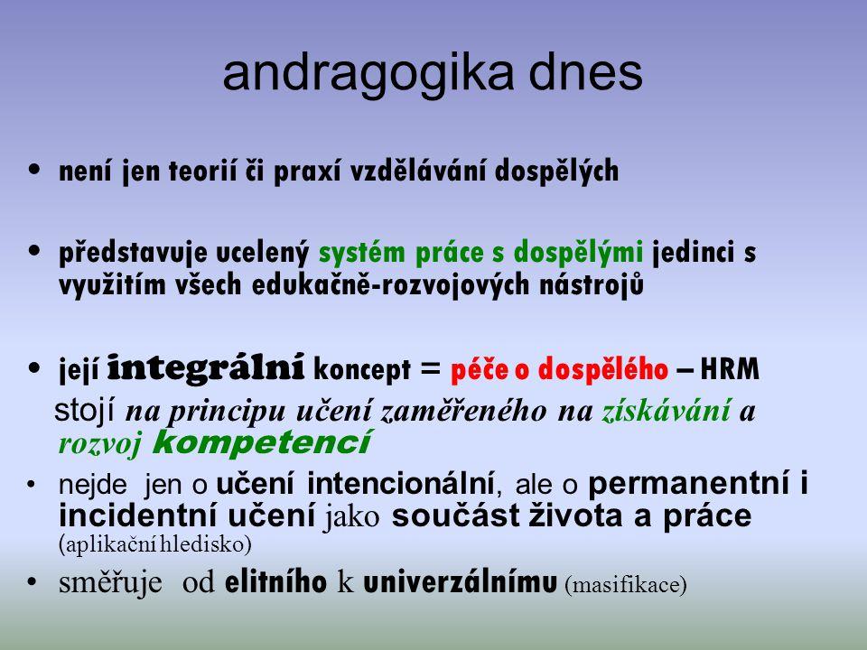 andragogika dnes není jen teorií či praxí vzdělávání dospělých představuje ucelený systém práce s dospělými jedinci s využitím všech edukačně-rozvojov