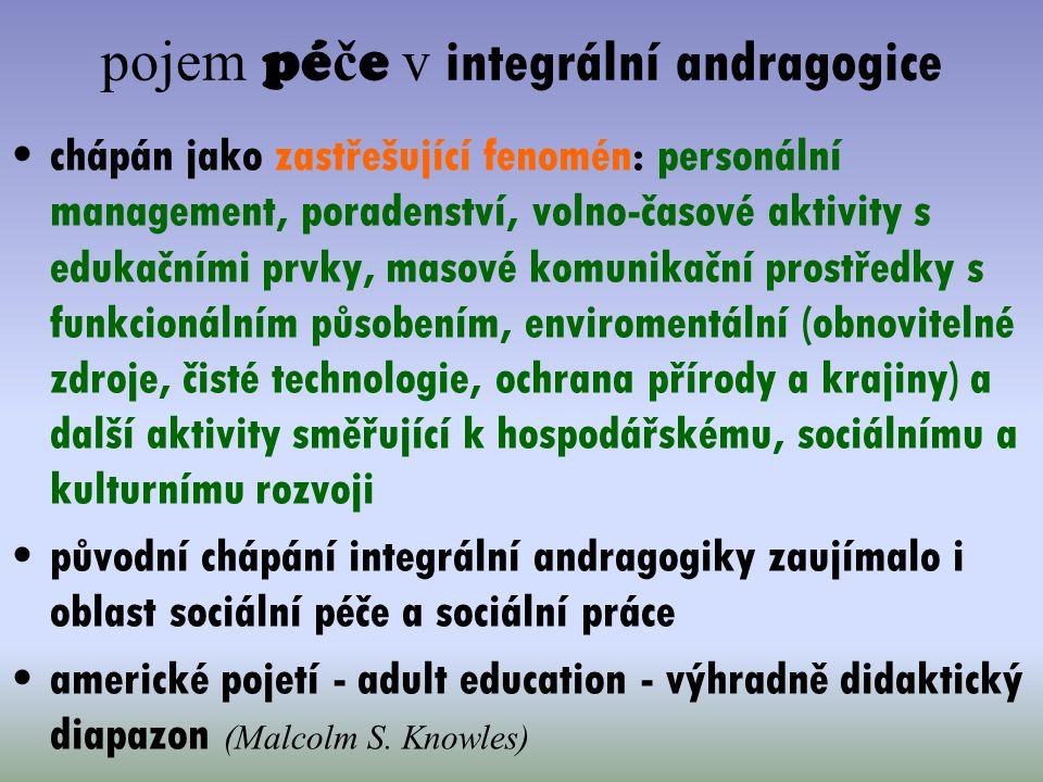 pojem pé č e v integrální andragogice chápán jako zastřešující fenomén: personální management, poradenství, volno-časové aktivity s edukačními prvky,