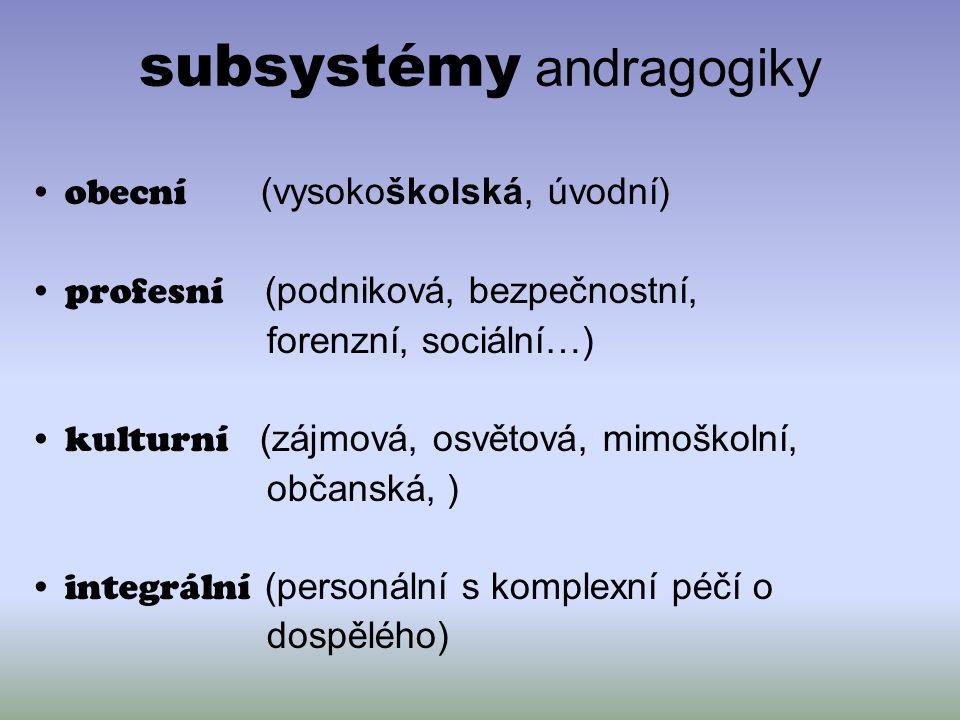 subsystémy andragogiky obecní (vysokoškolská, úvodní) profesní (podniková, bezpečnostní, forenzní, sociální…) kulturní (zájmová, osvětová, mimoškolní,