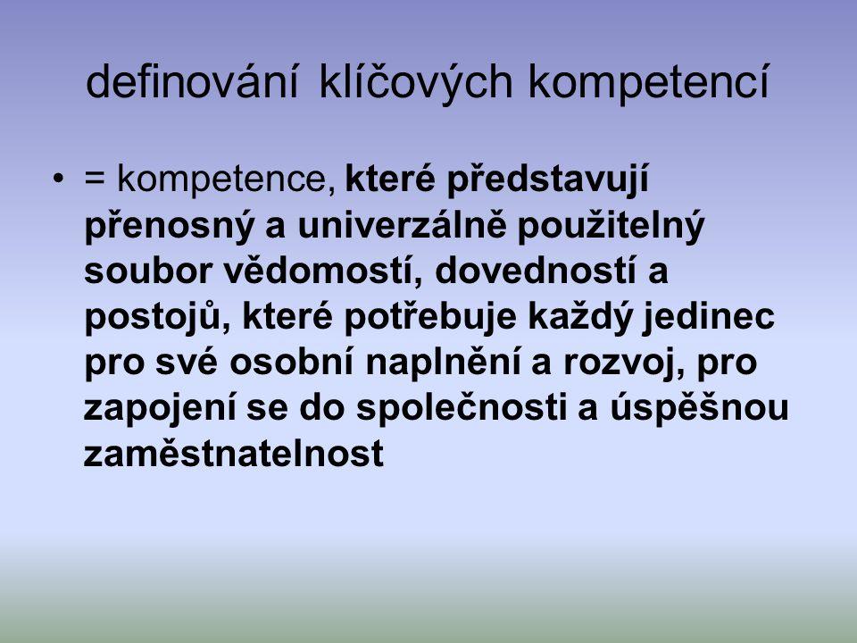 definování klíčových kompetencí = kompetence, které představují přenosný a univerzálně použitelný soubor vědomostí, dovedností a postojů, které potřeb