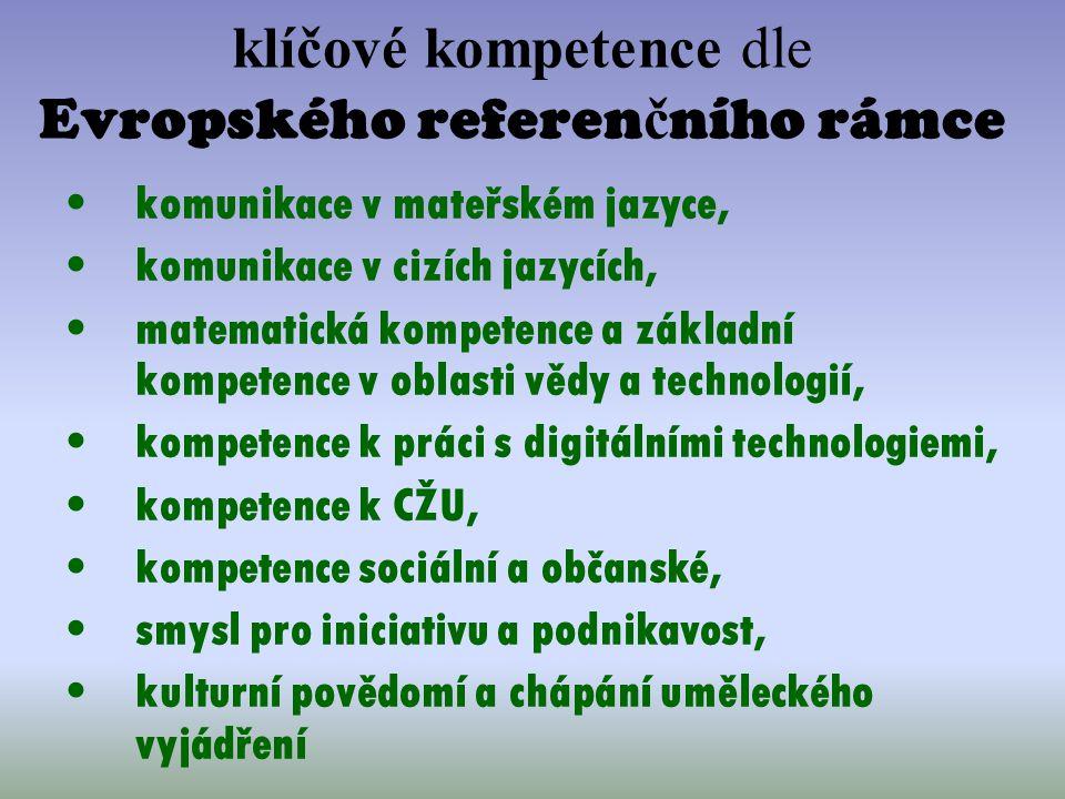 klíčové kompetence dle Evropského referen č ního rámce komunikace v mateřském jazyce, komunikace v cizích jazycích, matematická kompetence a základní
