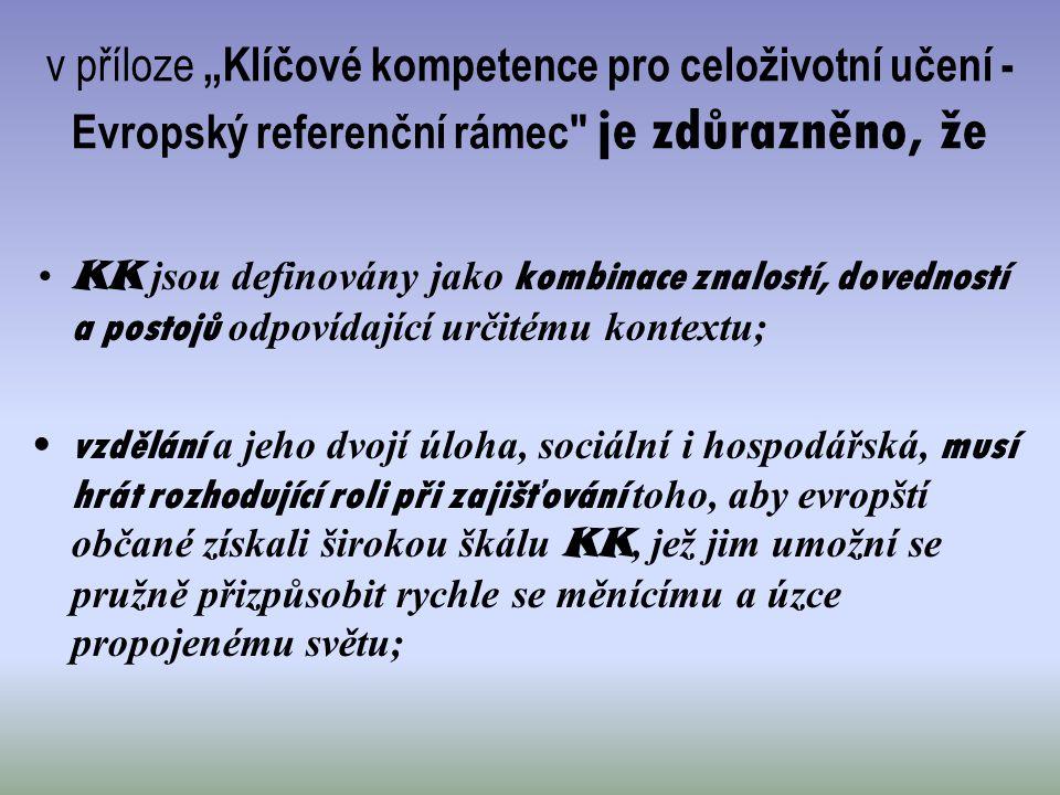 """v příloze """"Klíčové kompetence pro celoživotní učení - Evropský referenční rámec"""