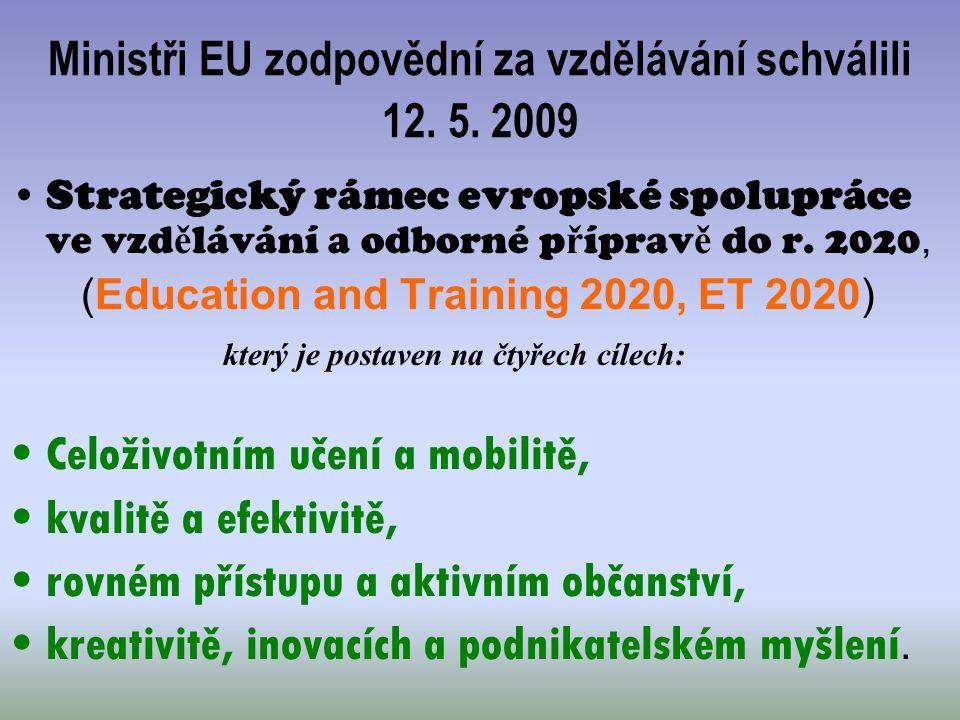 Ministři EU zodpovědní za vzdělávání schválili 12. 5. 2009 Strategický rámec evropské spolupráce ve vzd ě lávání a odborné p ř íprav ě do r. 2020, (Ed