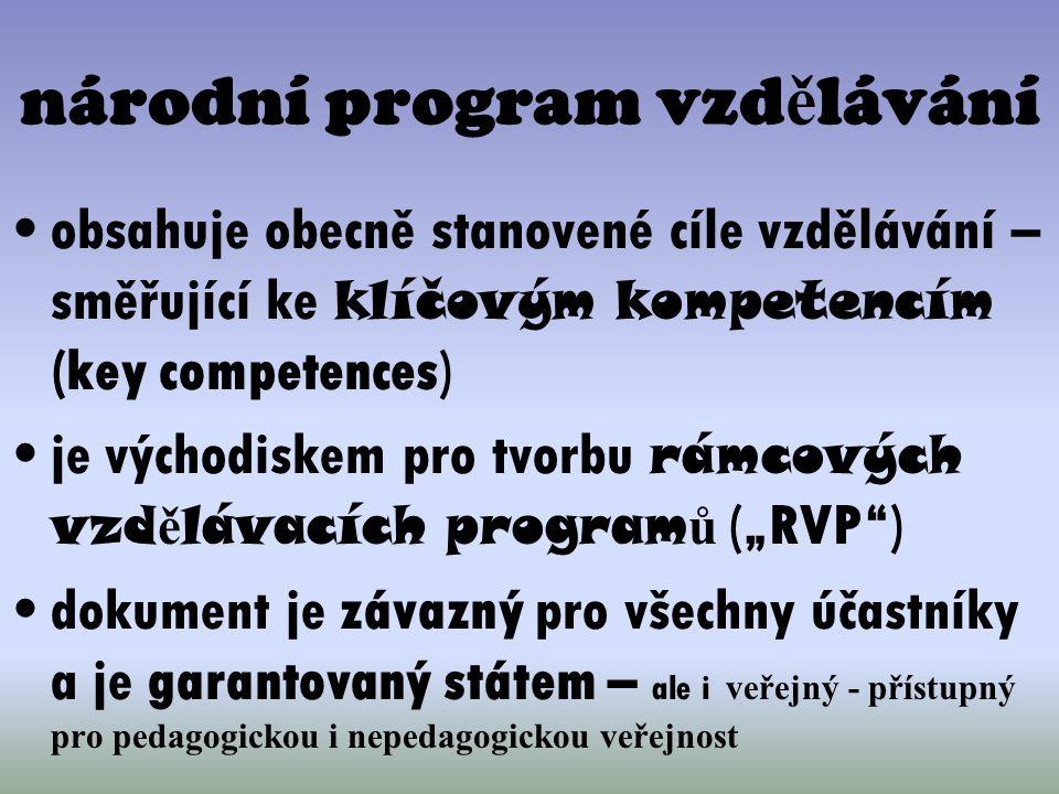 národní program vzd ě lávání obsahuje obecně stanovené cíle vzdělávání – směřující ke klíčovým kompetencím (key competences) je východiskem pro tvorbu