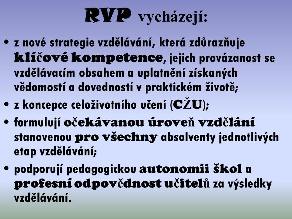 RVP vycházejí: z nové strategie vzdělávání, která zdůrazňuje klí č ové kompetence, jejich provázanost se vzdělávacím obsahem a uplatnění získaných věd