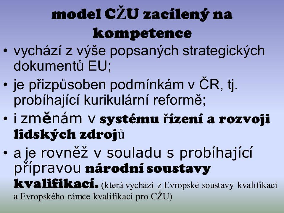 model C Ž U zacílený na kompetence vychází z výše popsaných strategických dokumentů EU; je přizpůsoben podmínkám v ČR, tj. probíhající kurikulární ref