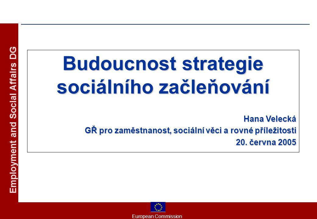 European Commission Employment and Social Affairs DG Budoucnost strategie sociálního začleňování Hana Velecká GŘ pro zaměstnanost, sociální věci a rovné příležitosti 20.