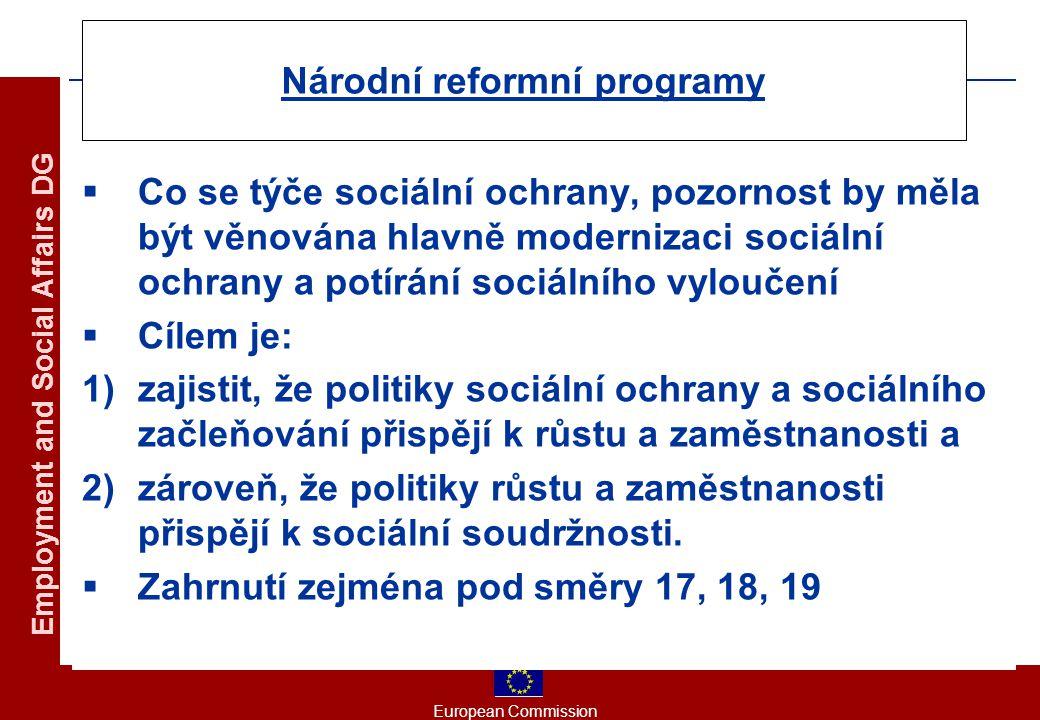 European Commission Employment and Social Affairs DG Národní reformní programy  Co se týče sociální ochrany, pozornost by měla být věnována hlavně modernizaci sociální ochrany a potírání sociálního vyloučení  Cílem je: 1)zajistit, že politiky sociální ochrany a sociálního začleňování přispějí k růstu a zaměstnanosti a 2)zároveň, že politiky růstu a zaměstnanosti přispějí k sociální soudržnosti.