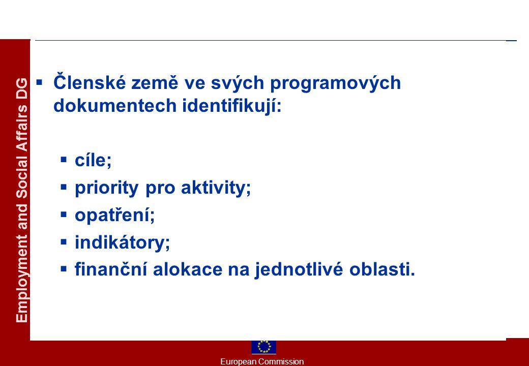 European Commission Employment and Social Affairs DG  Členské země ve svých programových dokumentech identifikují:  cíle;  priority pro aktivity;  opatření;  indikátory;  finanční alokace na jednotlivé oblasti.
