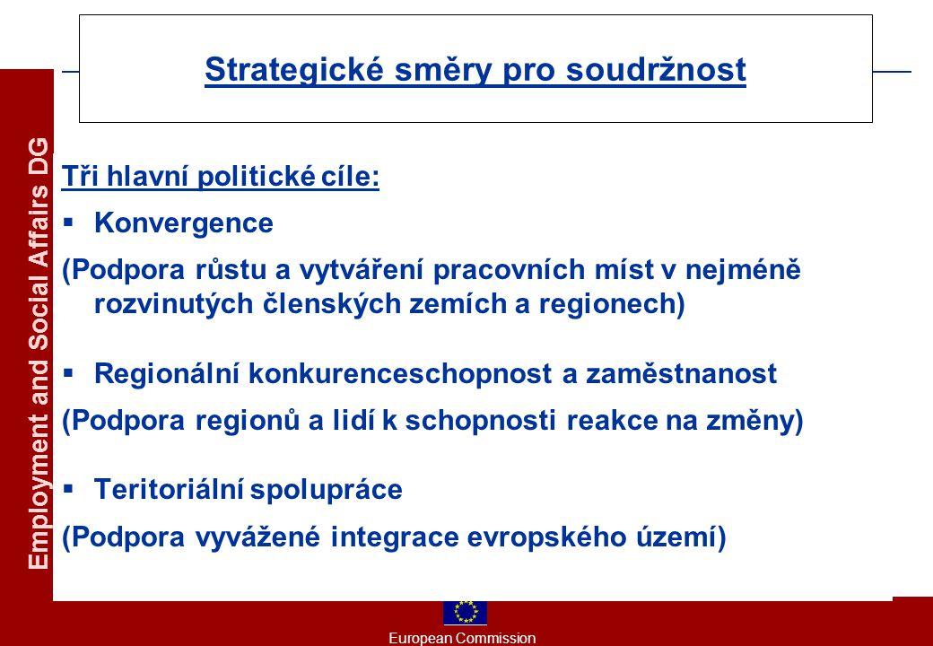 European Commission Employment and Social Affairs DG Strategické směry pro soudržnost Tři hlavní politické cíle:  Konvergence (Podpora růstu a vytváření pracovních míst v nejméně rozvinutých členských zemích a regionech)  Regionální konkurenceschopnost a zaměstnanost (Podpora regionů a lidí k schopnosti reakce na změny)  Teritoriální spolupráce (Podpora vyvážené integrace evropského území)