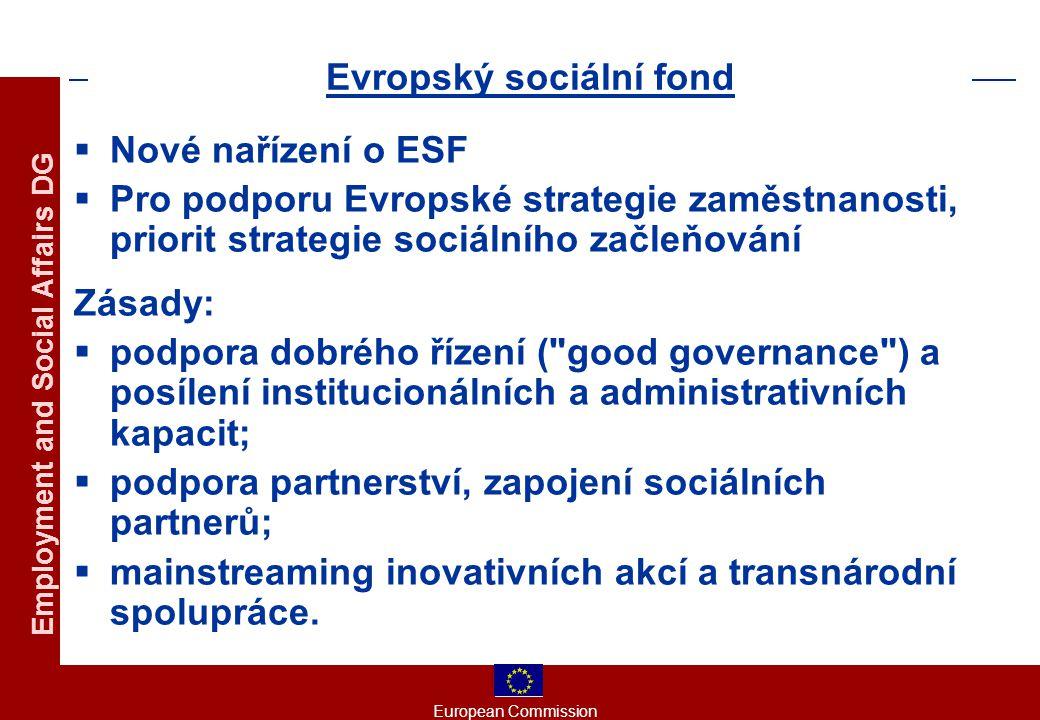 European Commission Employment and Social Affairs DG Evropský sociální fond  Nové nařízení o ESF  Pro podporu Evropské strategie zaměstnanosti, priorit strategie sociálního začleňování Zásady:  podpora dobrého řízení ( good governance ) a posílení institucionálních a administrativních kapacit;  podpora partnerství, zapojení sociálních partnerů;  mainstreaming inovativních akcí a transnárodní spolupráce.