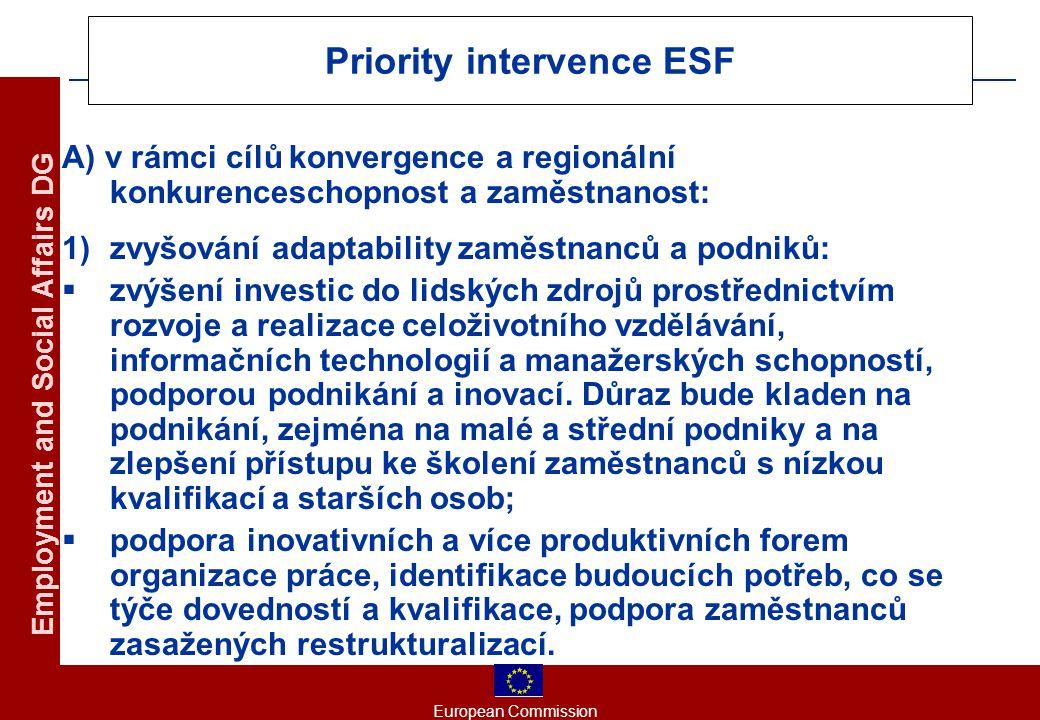 European Commission Employment and Social Affairs DG Priority intervence ESF A) v rámci cílů konvergence a regionální konkurenceschopnost a zaměstnanost: 1)zvyšování adaptability zaměstnanců a podniků:  zvýšení investic do lidských zdrojů prostřednictvím rozvoje a realizace celoživotního vzdělávání, informačních technologií a manažerských schopností, podporou podnikání a inovací.