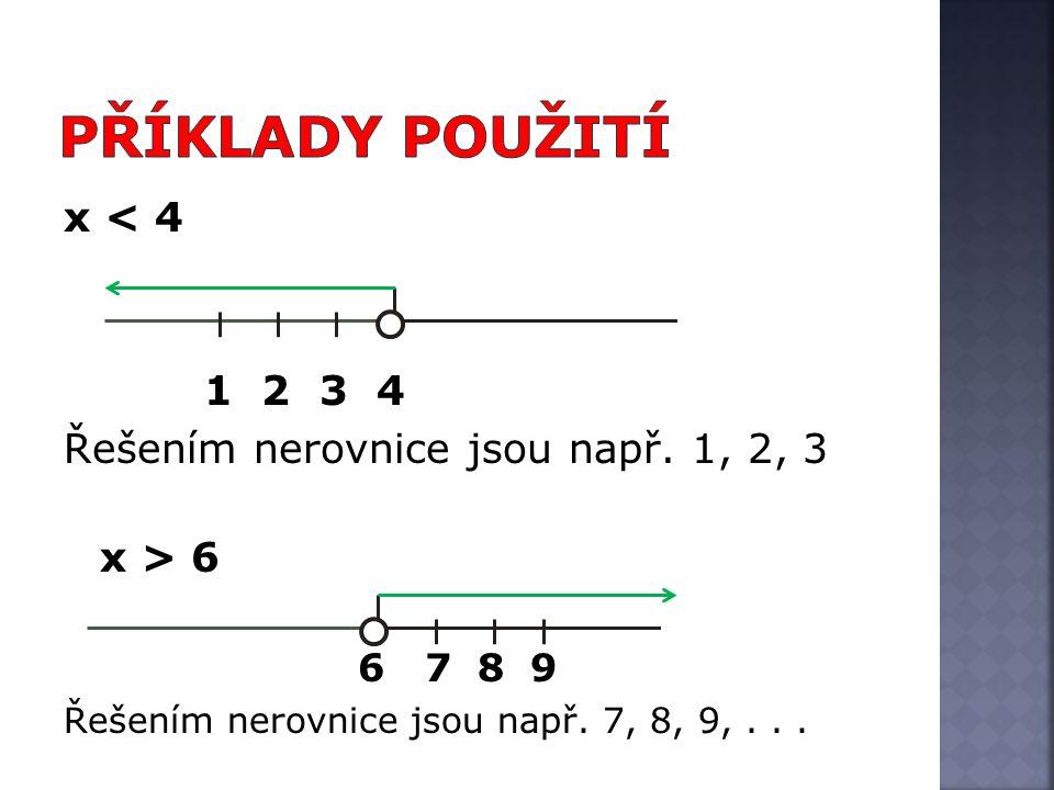 x < 4 1 2 3 4 Řešením nerovnice jsou např. 1, 2, 3 x > 6 6 7 8 9 Řešením nerovnice jsou např.