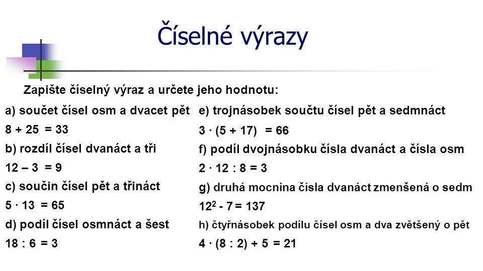 Číselné výrazy Zapište číselný výraz a určete jeho hodnotu: a) součet čísel osm a dvacet pět 8 + 25 b) rozdíl čísel dvanáct a tři 12 – 3 c) součin čís