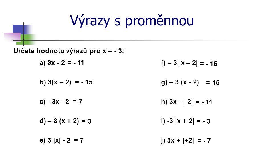 Výrazy s proměnnou Zapište jako výraz s proměnnou: a) součet proměnné x a čísla pět x + 5 b) podíl čísla sedm a proměnné t 7 : t c) rozdíl proměnné y a čísla sto y - 100 d) součin proměnné u a čísla osm 8 ∙ u e) trojnásobek součtu čísla dvanáct a proměnné v 3 ∙ (12 + v) f) podíl čtyřnásobku proměnné p a čísla patnáct 4p : 15 g) druhá mocnina proměnné a zmenšená o trojnásobek proměnné b a 2 – 3b h) dvojnásobek podílu proměnných r a s zvětšený o druhou mocninu proměnné t 2 ∙ (r : s) + t 2