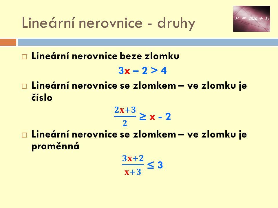 Lineární nerovnice - druhy