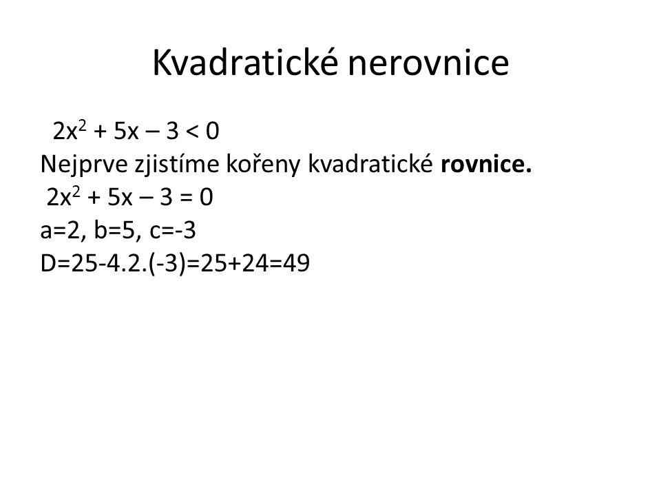Kvadratické nerovnice 2x 2 + 5x – 3 < 0 Nejprve zjistíme kořeny kvadratické rovnice. 2x 2 + 5x – 3 = 0 a=2, b=5, c=-3 D=25-4.2.(-3)=25+24=49