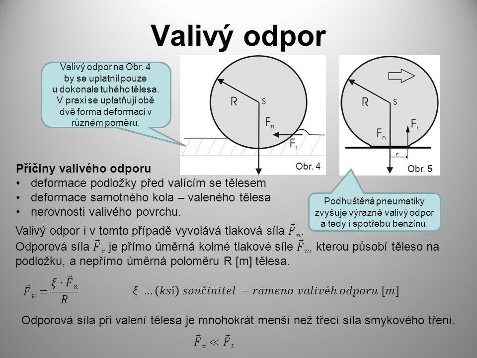Valivý odpor Příčiny valivého odporu deformace podložky před valícím se tělesem deformace samotného kola – valeného tělesa nerovnosti valivého povrchu