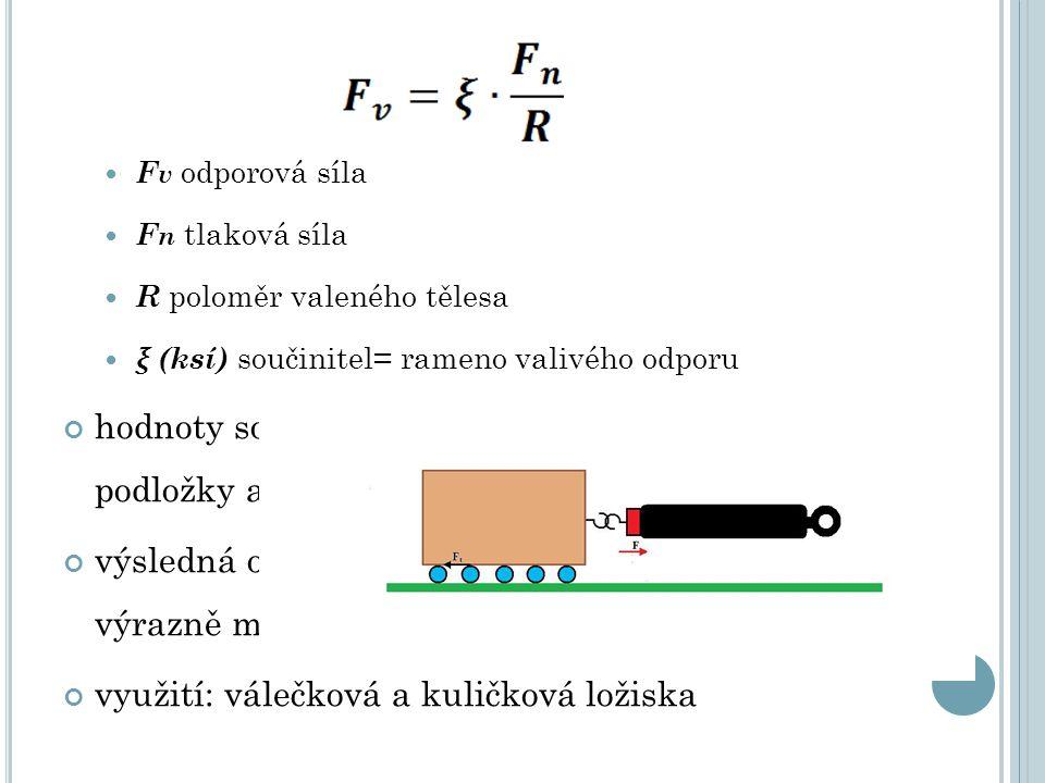 F v odporová síla F n tlaková síla R poloměr valeného tělesa ξ (ksí) součinitel= rameno valivého odporu hodnoty součinitele jsou různé pro různé podložky a povrchy výsledná odporová síla je za stejných podmínek výrazně menší než síla třecí využití: válečková a kuličková ložiska