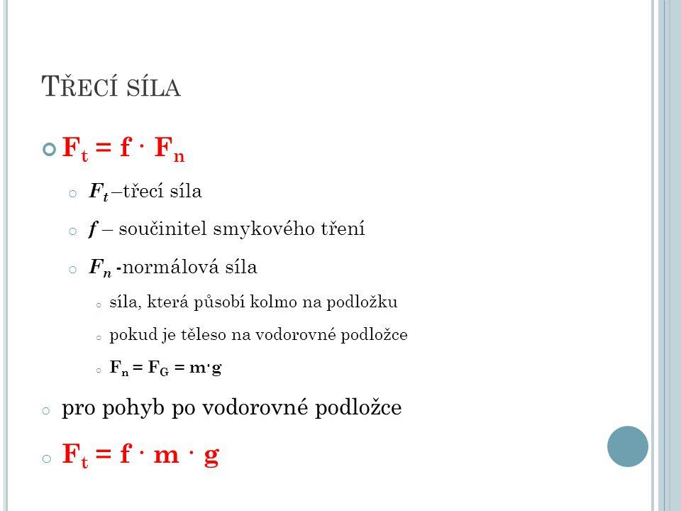T ŘECÍ SÍLA F t = f · F n o F t –třecí síla o f – součinitel smykového tření o F n -normálová síla o síla, která působí kolmo na podložku o pokud je těleso na vodorovné podložce o F n = F G = m·g o pro pohyb po vodorovné podložce o F t = f · m · g