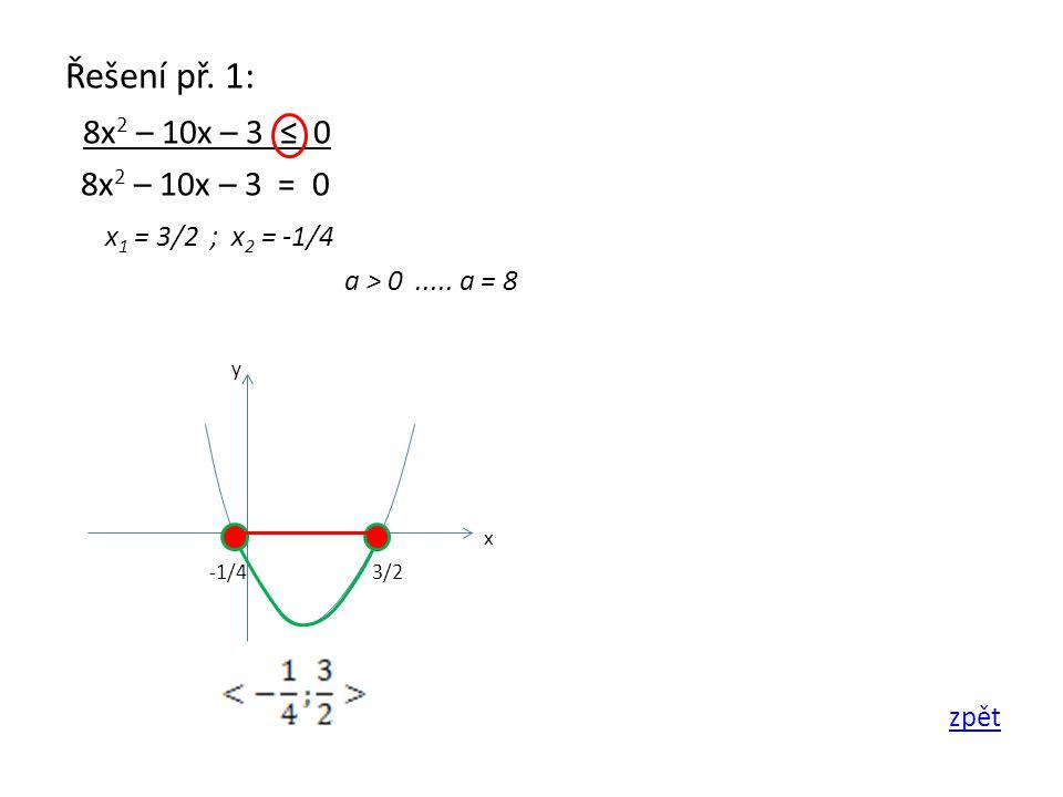 Řešení př. 1: 8x 2 – 10x – 3 ≤ 0 8x 2 – 10x – 3 = 0 x 1 = 3/2 ; x 2 = -1/4 a > 0.....