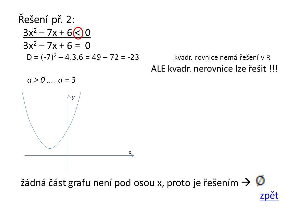 Řešení př. 2: 3x 2 – 7x + 6 < 0 3x 2 – 7x + 6 = 0 D = (-7) 2 – 4.3.6 = 49 – 72 = -23 kvadr.