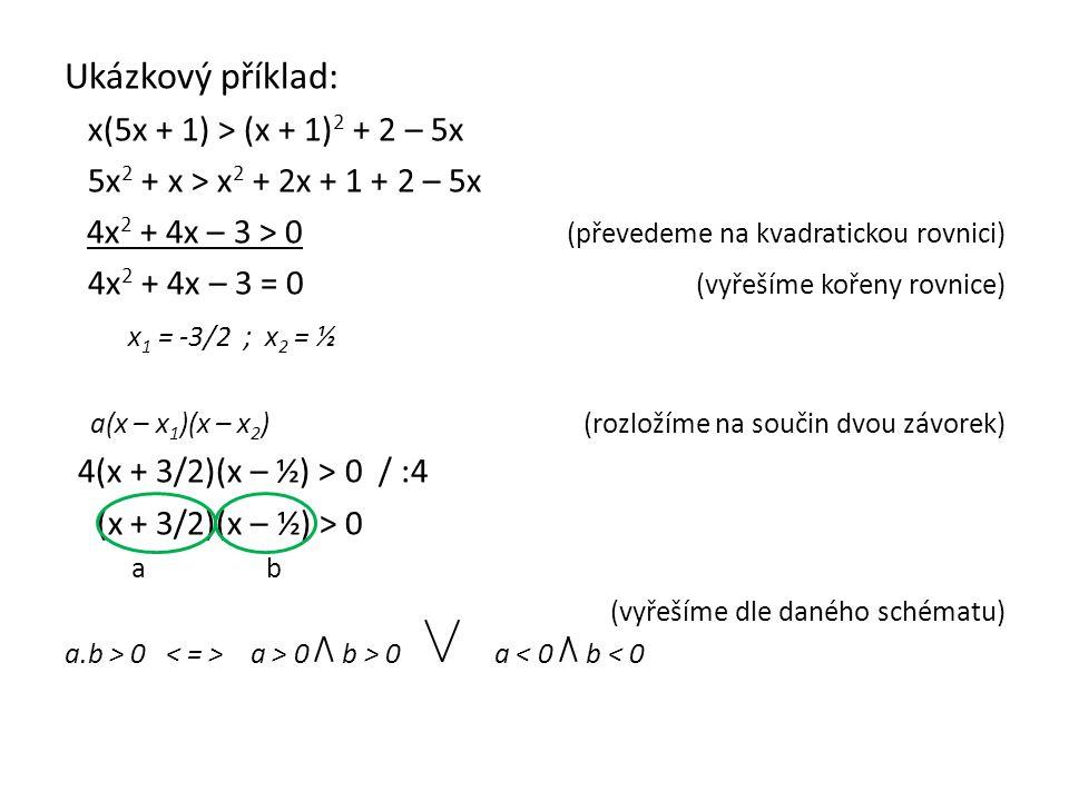 Ukázkový příklad: x(5x + 1) > (x + 1) 2 + 2 – 5x 5x 2 + x > x 2 + 2x + 1 + 2 – 5x 4x 2 + 4x – 3 > 0 (převedeme na kvadratickou rovnici) 4x 2 + 4x – 3 = 0 (vyřešíme kořeny rovnice) x 1 = -3/2 ; x 2 = ½ a(x – x 1 )(x – x 2 ) (rozložíme na součin dvou závorek) 4(x + 3/2)(x – ½) > 0 / :4 (x + 3/2)(x – ½) > 0 a b (vyřešíme dle daného schématu) a.b > 0 a > 0 b > 0 a < 0 b < 0