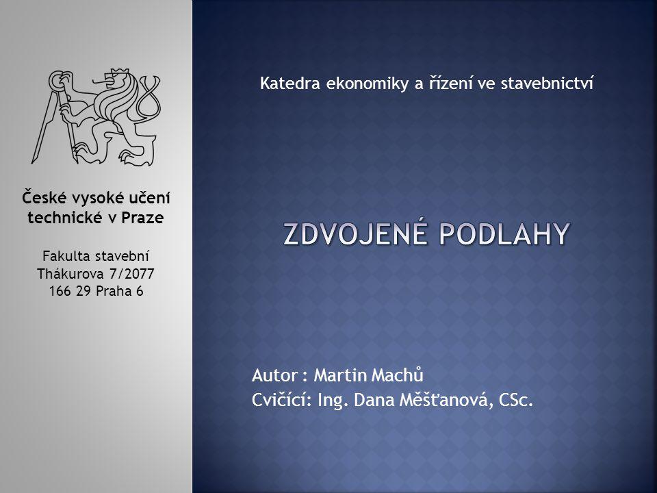 Autor : Martin Machů Cvičící: Ing.Dana Měšťanová, CSc.