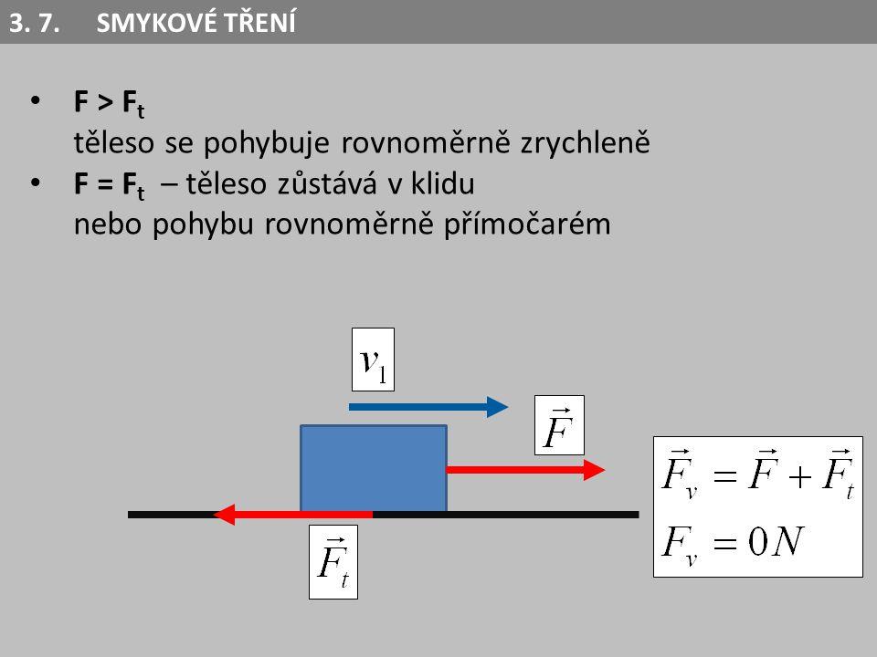 F > F t těleso se pohybuje rovnoměrně zrychleně F = F t – těleso zůstává v klidu nebo pohybu rovnoměrně přímočarém F < F t – těleso se pohybuje rovnoměrně zpomaleně nebo je v klidu 3.
