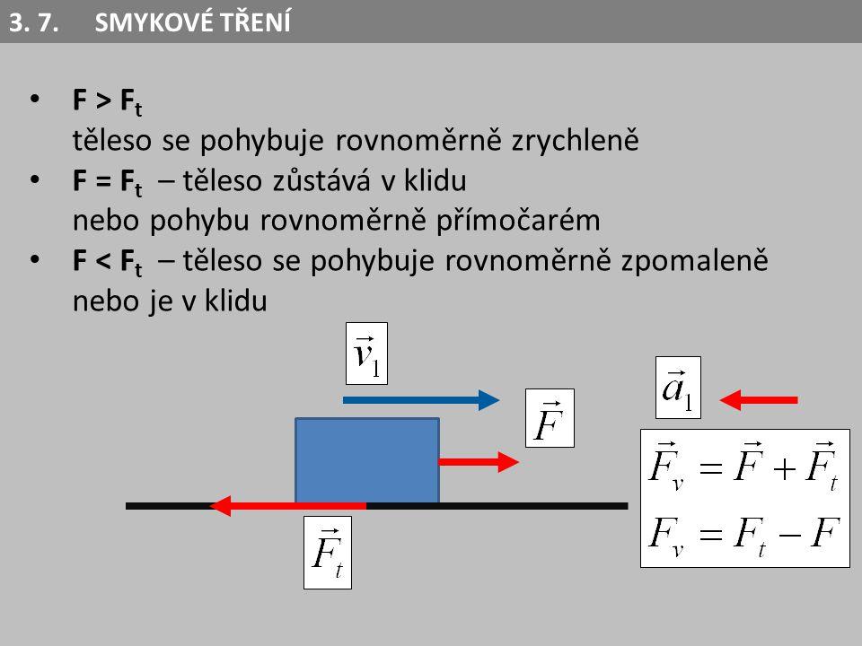 F > F t těleso se pohybuje rovnoměrně zrychleně F = F t – těleso zůstává v klidu nebo pohybu rovnoměrně přímočarém F < F t – těleso se pohybuje rovnom
