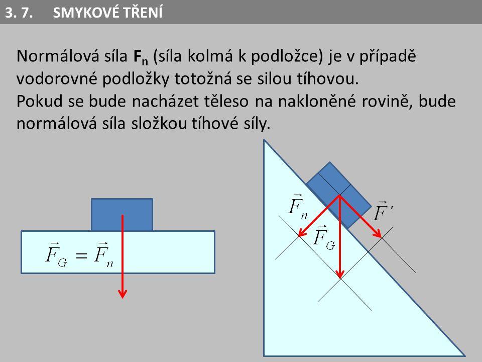 Normálová síla F n (síla kolmá k podložce) je v případě vodorovné podložky totožná se silou tíhovou. Pokud se bude nacházet těleso na nakloněné rovině