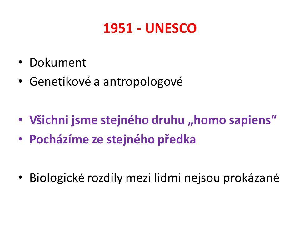 """1951 - UNESCO Dokument Genetikové a antropologové Všichni jsme stejného druhu """"homo sapiens Pocházíme ze stejného předka Biologické rozdíly mezi lidmi nejsou prokázané"""