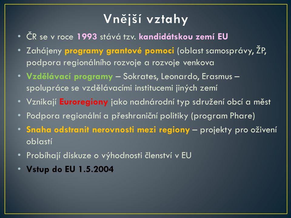 ČR se v roce 1993 stává tzv. kandidátskou zemí EU Zahájeny programy grantové pomoci (oblast samosprávy, ŽP, podpora regionálního rozvoje a rozvoje ven