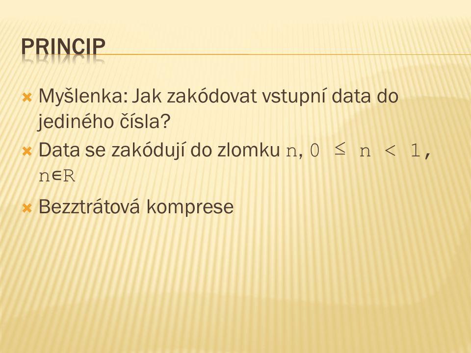  Myšlenka: Jak zakódovat vstupní data do jediného čísla?  Data se zakódují do zlomku n, 0 ≤ n < 1, n ∊ R  Bezztrátová komprese