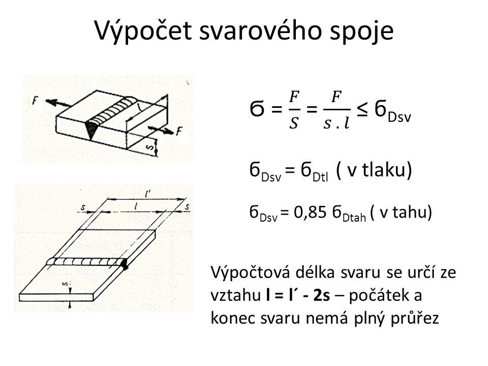Výpočet svarového spoje ϭ Dsv = ϭ Dtl ( v tlaku) ϭ Dsv = 0,85 ϭ Dtah ( v tahu) Výpočtová délka svaru se určí ze vztahu l = l´ - 2s – počátek a konec s